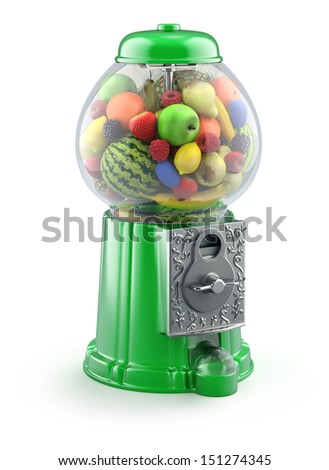Fruits in the gumball machine - stock photo