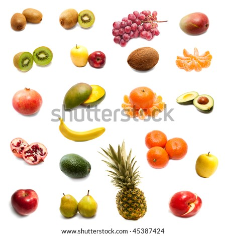 Fruits in the set on a white background - stock photo