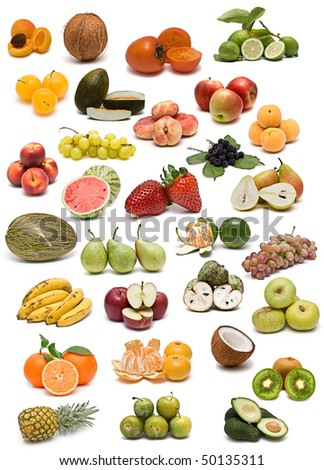 Fruits isolated on a white background.