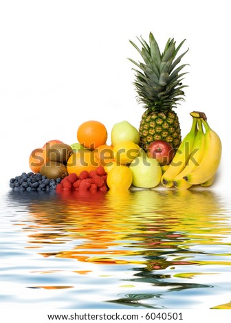 Fruits isolated on a white background with water reflection - stock photo