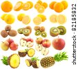 Fruits isolated on white - stock photo