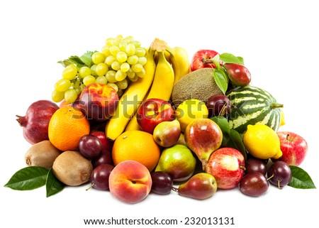 Fruits isolated on white background. - stock photo
