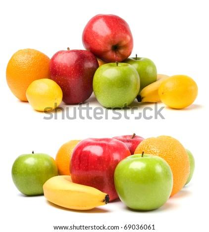fruits isolated on white background - stock photo