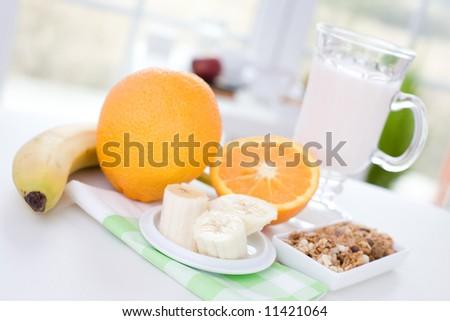 Fruits, joghurt and cereal / Diet breakfast - stock photo