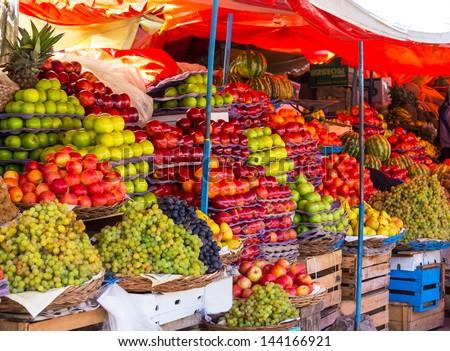 fruits market - stock photo