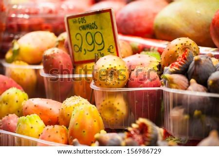 Fruits market, in La Boqueria,Barcelona famous marketplace - stock photo