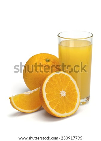 Fruits of a ripe orange and juice in a high glass on a white background - stock photo