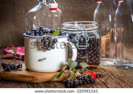 Fruits of black chokeberry prepared for processing. Shallow depth of field. - stock photo