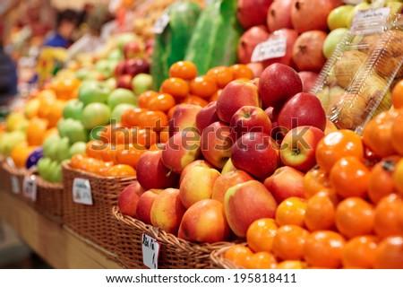 Fruits on a farm market shelf - stock photo