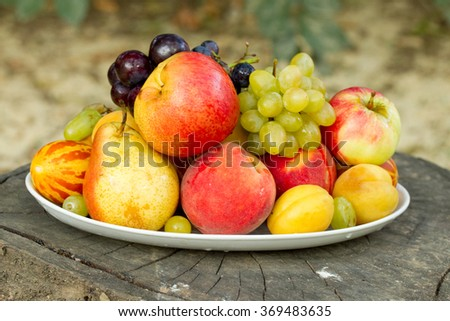 Fruits on a plate on a big old tree stump in the garden
