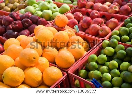 Fruits on a produce market - stock photo