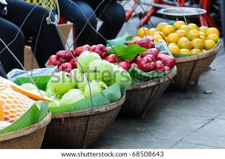 fruits on street market, thailand - stock photo