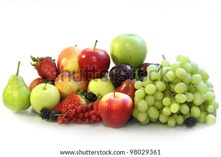 Fruits on the white backgrounds - stock photo