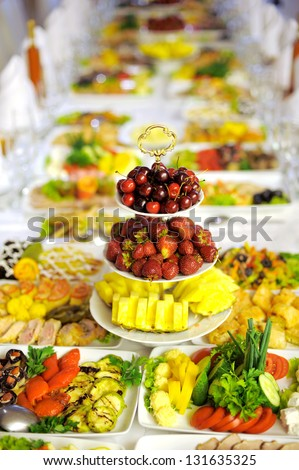fruits on wedding table at restaurant - stock photo