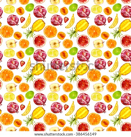 fruits pattern: pineapple, pomegranate, orange, grapefruit, lime, apricot, banana, apple, strawberry. Hand drawn watercolor - stock photo