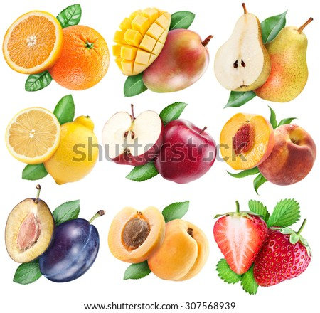 Fruits set with clipping path for each subject. - stock photo