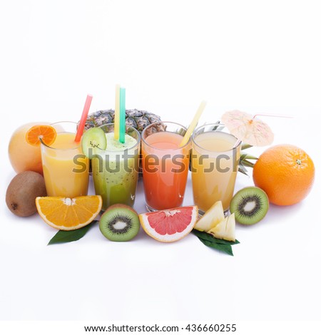 Fruits smoothies, summer cool drinks top view macro isolated. Selective focus, soft light,
