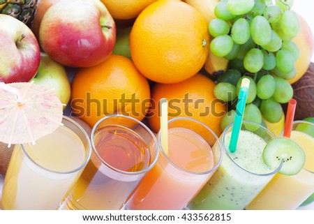 Fruits smoothies, summer cool drinks top view macro. Selective focus, soft light - stock photo
