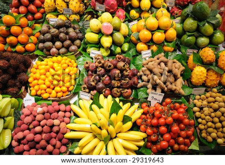 Fruits stand in La Boqueria market, Barcelona Spain