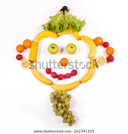 Fruits. The man's face from fruit and vegetables - stock photo