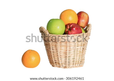 Fruits. Various fresh ripe fruits placed in a wicker basket and around isolated on a white background - stock photo
