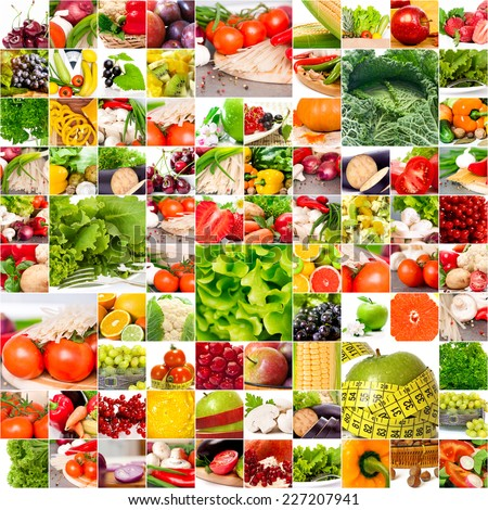 Fruits vegetable collage. Healthy nutrition concept - stock photo