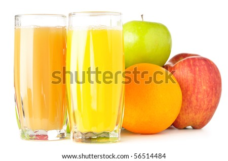 fruits with juice isolated on white - stock photo