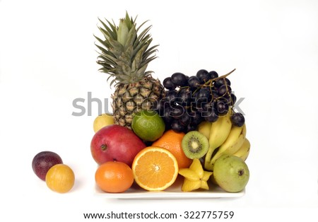 fruits with white background - stock photo