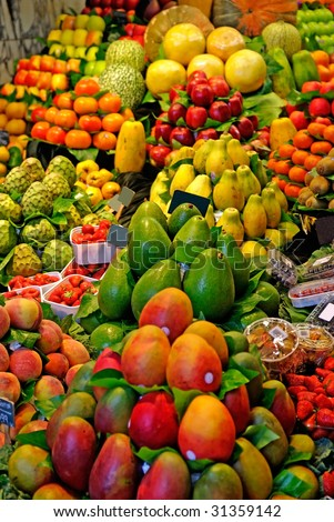 Fruits. World famous Barcelona market, Spain. Selective focus. - stock photo