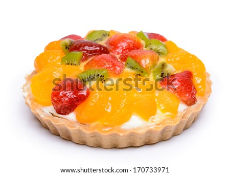 Fruity orange and strawberry tart pie
