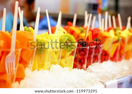 Fruity Smoothies in a row - stock photo