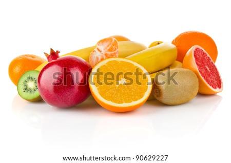 fruity still life isolated on white background - stock photo