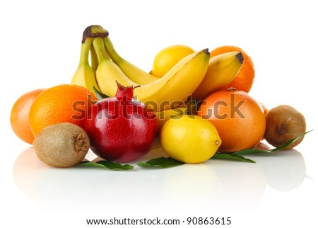 fruity still life isolated on white background
