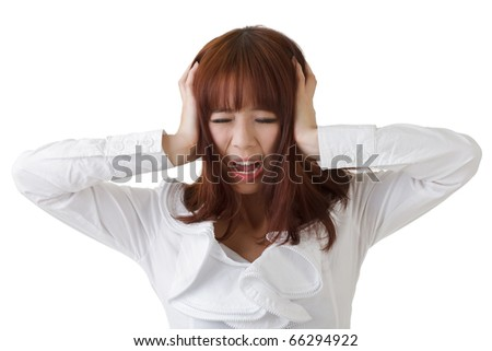 Frustrate business woman of Asian put hand on head against white. - stock photo