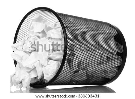 Frustrate office basket dropping out of her crumpled paper isolated on white background. - stock photo