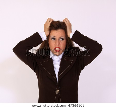 Frustrated and stressed girl - stock photo