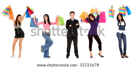 Frustrated business man amongst female shoppers isolated - stock photo