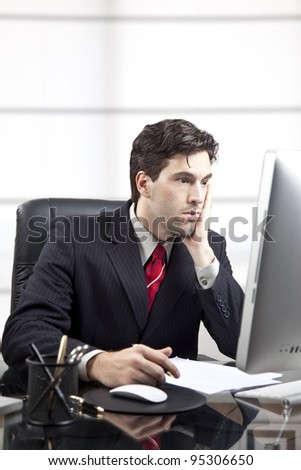 frustrated businessman in front of the computer. - stock photo