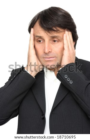 Frustrated businessman looking on disaster isolated over white