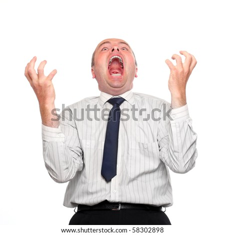 Frustrated businessman on white background. - stock photo