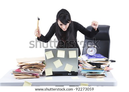 Frustrated businesswoman with her jobs - stock photo