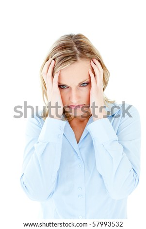 Frustrated caucasian businesswoman looking to the side against white background - stock photo