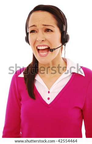 Frustrated customer service operator on a white background - stock photo