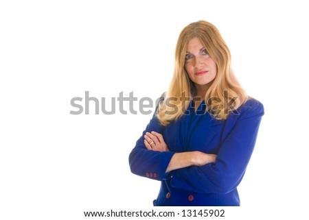 Frustrated executive business woman crossing her arms with a troubled expression.