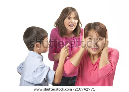 Frustrated from nagging kids. - stock photo