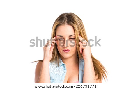 frustrated girl over isolated white background