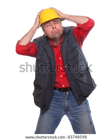 Frustrated male worker on a white background. - stock photo