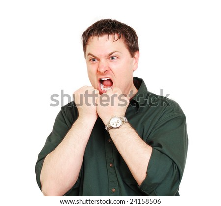 Frustrated man at the end of his rope - stock photo
