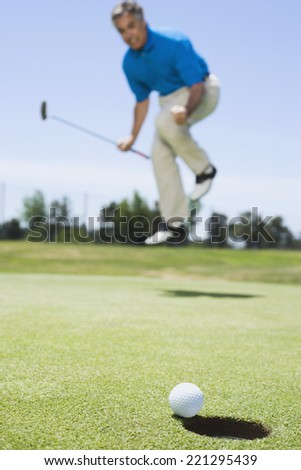 Frustrated man on golf course