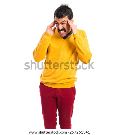frustrated man with moustache over white background